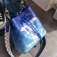 LV Louis Vuitton Fashion New Lady Tie-Dye Gradient Cloud Letter Bucket Bag Shoulder Bag