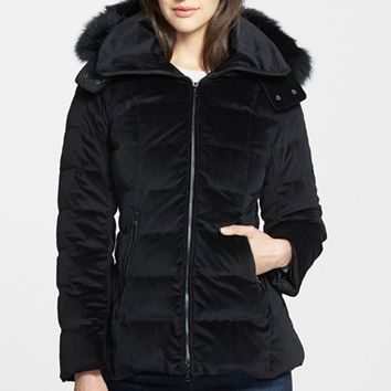 Women's Trina Turk 'Emma' Genuine Fox Fur Trim Hooded Velour Down Jacket
