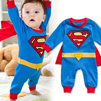 Newborn Clothing 100% Cotton Hot Sale Cartoon Romper For Boy and Girl Cute Superman Baby Rompers Costume Long Sleeve