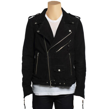 Biker style suede leather jacket with waist belt