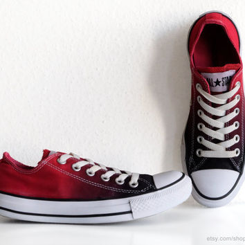 Vintage Converse All Stars transformed with a red ombre dip dye, black to red low tops, sneakers, size 37 (UK 4.5, US wo's 6.5, US mens 4.5)