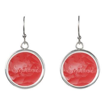 Personalized Elegant Coral Pink Rose with Her Name Earrings