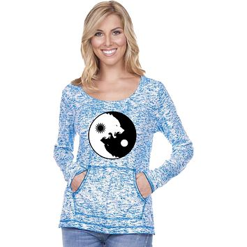 Yoga Clothing For You Yin Yang Wolves Static Raw-Edge Long Sleeve Yoga Tee Shirt