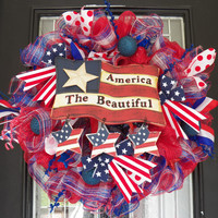 July 4th Wreath, Fourth of July Wreath, Patriotic Decoration, Door Hanger, Deco Mesh, Ready to Ship