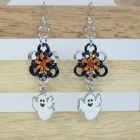 Halloween ghost earrings silver black orange japanese flower chainmail