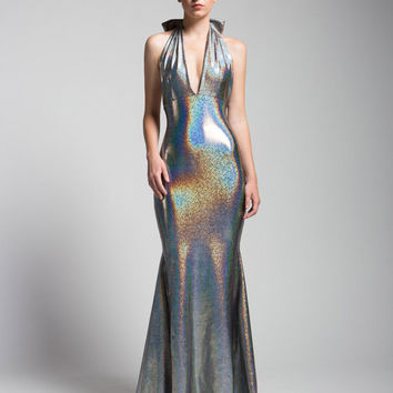 Liquid Silver Holoraphic Gown with Mermaid Train