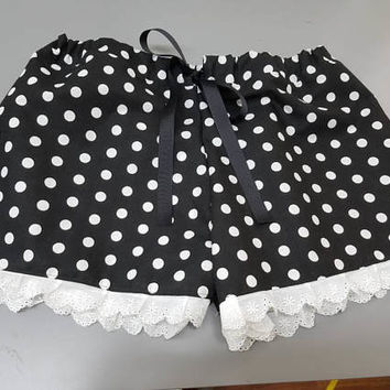 Polka - dot - pinup - rockabilly -- cover - up - Pj - Pajama - style -  boxer - drawstring - shorts