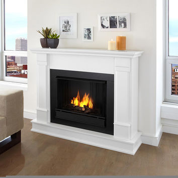 Madison Real Flame White Silverton Electric Fireplace