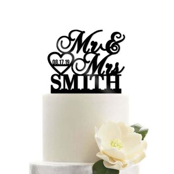 Custom Personalized Mr and Mrs Name Date Heart Modern Wedding Cake Topper