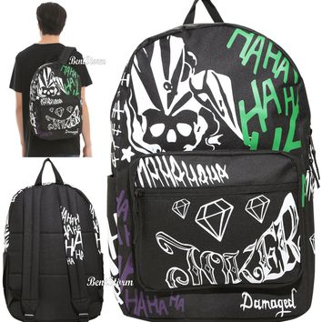 Licensed cool Suicide Squad The Joker Tattoo Damaged Ha Ha Text Backpack Book Bag DC