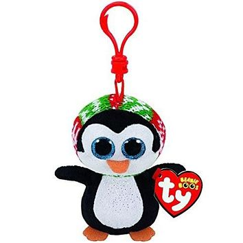 "Pyoopeo Ty Beanie Boos 4"" 10cm Penelope Penguin Clip Plush Keychain Stuffed Animal Collectible Big Eyes Doll Toy"