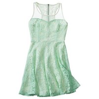 Mesh Detail Lace Fit & Flare Dress (Mint)