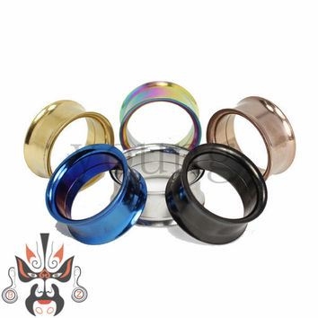 5 color stainless steel ear piercing plug tunnel body jewelry 2-20mm SS-2017