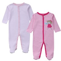2 Pcs/lot Baby Clothes Baby Boy Girls Footed Romper Baby Rompers 100% Cotton Sleep & Play Clothes Baby Pajamas Newborn Clothing
