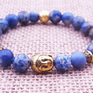 COMMUNICATION Sodalite Buddha  Buddha Bracelet Blue Bracelet Stone Bracelet Gemstones Buddhist Spiritual Yogi Gifts  For Him Meditating