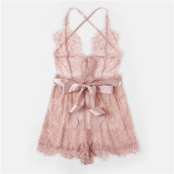 Sexy Lace Sleep Romper