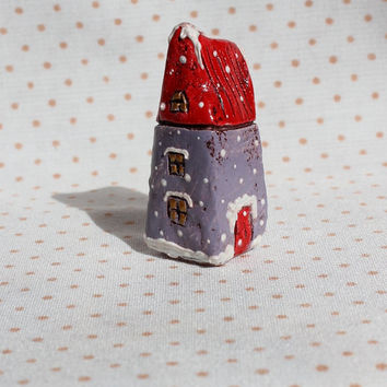 "OOAK small house folk art house miniature house red lilac white 2"" winter snow"
