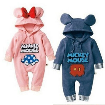 Hooyi Cartoon Hooded Rompers ropa mickey Bebe Long Romper Baby Boy Girl Clothing roupa infantil newborn jumpsuit recem nascido