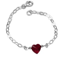 Amazon.com: Crystal Heart Bracelet Made with SWAROVSKI ELEMENTS Siam Red Crystal Sterling Silver Adjustable: AzureBella: Jewelry