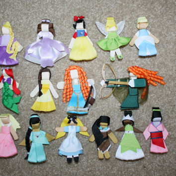 3.75 each - Disney Princess Hair Bow Clip Clippie - Tiana Ariel Mulan Belle Aurora Jasmine Merida Sofia WHOLESALE
