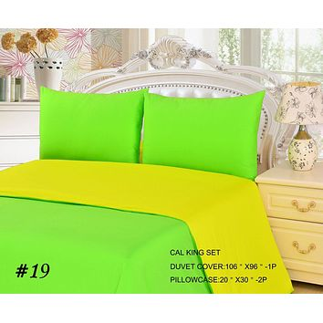 Tache 2-3 Piece Cotton Solid Lemon Lime Yellow Green Reversible Duvet Cover Set (TADC32PC-YG)