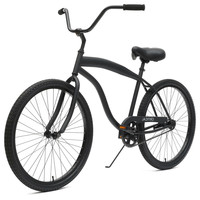 Matte Black Men's 26-Inch 1-Speed Beach Cruiser Bike with Coaster Brakes