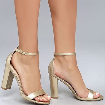 Taylor Gold Ankle Strap Heels