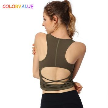 Colorvalue Plain Padded Fitness Crop Top Women Back Open Workout Gym Sport Bra Top Anti-sweat Removable Pads Sport Yoga Vest