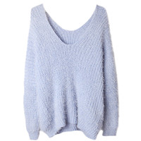 Fluffy V-neck Loose Mohair Knit Sweater