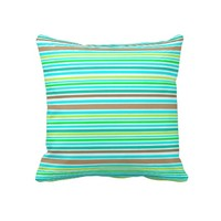 Blue Brown & Green Spring Stripes Modern Pattern Throw Pillows- Home decor, living room/bedroom, dorm, decor, decorative pillows