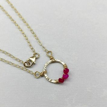 14 KT Gold Filled Hammered Wire Hot Pink Chalcedony Circle Necklace