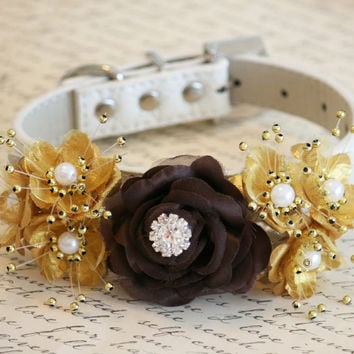 Gold and Brown Floral Dog Collar, Pet wedding accessory, Brown Gold wedding, Dog Lovers, Rhinestone and pearls