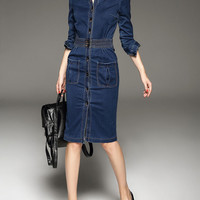 [USD $89.99] Buttoned Denim Midi Dress