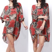 Ladies Chiffon Overall Batwing-sleeve Animal Print Casual Suncare Long Blouse