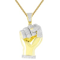 IcedOut Power of Man Hand Fist Silver 14k Gold Finish Pendant