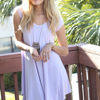 The Last Song Lilac Casual V-Neck T-Shirt Dress