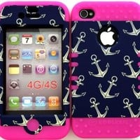 Bumper Case for Apple iphone 4 4G 4S Anchor Pattern hard plastic snap on over Pink Silicone Gel