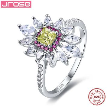 Jrose Flower Style Green 100% 925 Sterling Silver Promise Wedding Ring 4.85 Carats Love Engagement Rings for Women