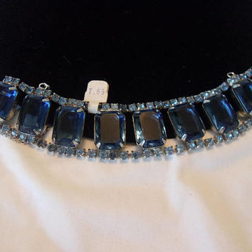 Art Deco Sapphire Blue Emerald Cut Glass Rhinestone Geometric Wide Cuff Bracelet 7""
