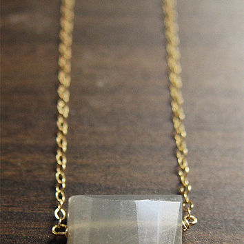 Geometric Moonstone Necklace - 14k Gold Filled