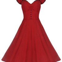 Lindy Bop 'Bella' Classy Vintage 1950's Rockabilly Style Swing Party Jive Dress (XL, Red)