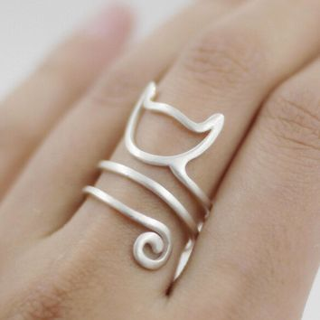 Fashion Cat Ring Matte Kitten Cat Wrap Ring Animal Finger Ring For Young Girl Women Adjustable Ring
