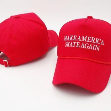 Red Make Skate Again Embroidered Adjustable Cotton Baseball Golf Sports Cap Hat