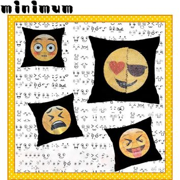 New cute DIY changing face emoji decorative pillows sequin Mermaid Pillow smiley face pillow sofa cushion home decor