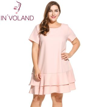 IN'VOLAND Brand Plus Size Dress For Women Short Sleeve Solid Double Layer Ruffles Hem Party Dresses Lady Big Size Vestidos 4XL