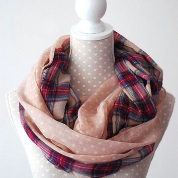 Scottish Grid and Dots Infinity Scarf Light PINK Loop scarf with different patterns Great with your outfit