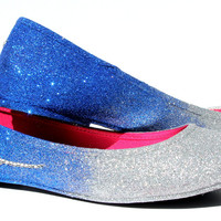 Peacock Glitter Flats with Swarovski Crystal Feathers