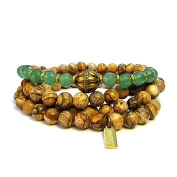Nurture and Balance,108 Bead Jasper and Aventurine Gemstone Mala Wrap Bracelet Or Necklace
