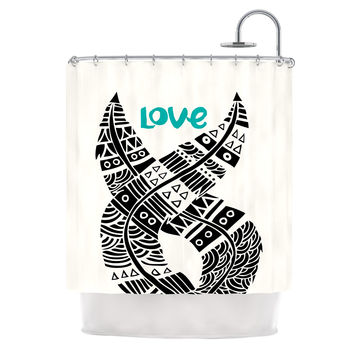 "Pom Graphic Design ""United Love"" Black Tribal Shower Curtain"