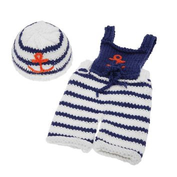 Baby Cute Crochet Knit Nautical Outfit